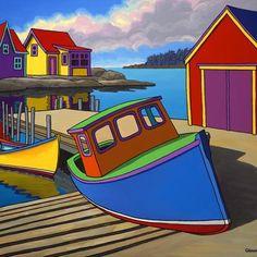Contemporary Landscape Art of Canadian BC Hornby Island Artist Graham Herbert; Naive Art, Beach Art, Landscape Art, Folk Art, Watercolor Paintings, Art Projects, Art Gallery, Canvas Art, Art Prints