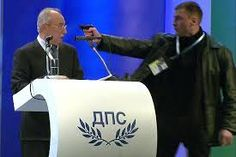 The most stupid attempt ever, lol  Failed assassination on Ahmed Dogan (National Palace of Culture in Sofia) Live TV.  Gunman used gas pistol loaded with pepper spray that would not have killed opposition leader.  A 'would-be assassin' who aimed a gun at the head of a Bulgarian politician as he was giving a speech had no intention of killing his victim, it has been suggested