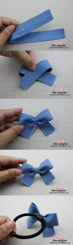 DIY Hair bow made of jean's fabric.