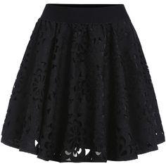 Elastic Waist Hollow Flare Skirt ($18) ❤ liked on Polyvore featuring skirts, bottoms, black, short flared skirts, short circle skirt, flare short skirt, black knee length skirt и skater skirt