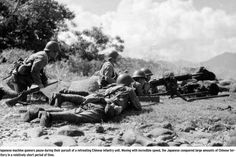 Japanese manchine gunners pause during their pursuit of a tretreating chinese unit. Moving with incredible speed, the Japanese conquered large amount of chinese terretory in relatively short period of time _ Pin it by GUSTAVO BUESO-JACQUIER