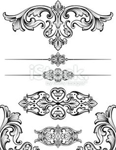 Vintage Scroll Symmetry Royalty Free Stock Vector Art Illustration