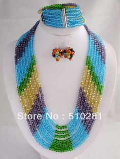 Free Shipping!!! LK-125 Nice Mixed Colors Crystal Necklace, African Wedding Jewelry Set $59.99