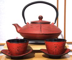 japanese cast iron teapot cups saucers - Google Search