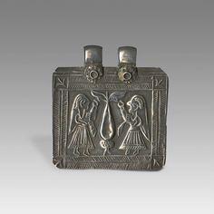 ANTIQUE SILVER JUDAICA AMULET CASE ilver Tree of Life Plaque Amulet