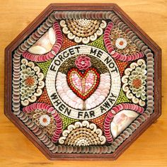 """Vintage inspired...   """"Sailors` Valentines"""" - all of the beautiful details created with shells. History = Whaling sailors used to make and take these home in the whaling days.  Tokens of love, these colorful handcrafted framed shell compositions were memories of a successful voyage for loved ones back home."""