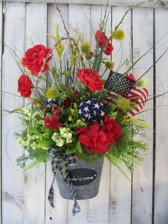Spring  Wreath  Geranium Wreath  Patriotic Wreath  4th of