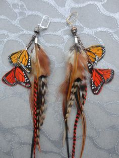 Feather Earrings w Light & Dark Yellow / by medicineproductions, $299.99