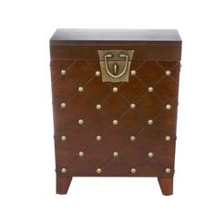 End Table Trunk Nailhead Espresso Square Brown Living Room Furniture Storage NEW #Unbranded #Transitional