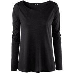 H&M Top ($11) ❤ liked on Polyvore featuring tops, shirts, black, h&m, long sleeve top, polyester shirt, jersey top, shirt jersey, h&m shirts and long sleeve jersey