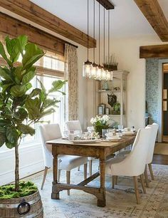 Dining room table - love! Lighting - love!                                                                                                                                                                                 More