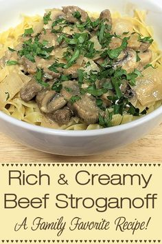 This rich & creamy Beef Stroganoff recipe is a real family favorite and a true comfort food! I've served this hundreds of times, to countless numbers of people, in the past 40 years & have always gotten rave reviews... even if you have other beef stroganoff recipes, give this one a try, you won't be sorry! --------- #BeefStroganoff #BeefRecipes #Stroganoff #MeatRecipes #ComfortFood #Food #Cooking #Recipes #Recipe #FoodieHomeChef Beef Recipes For Dinner, Lamb Recipes, Delicious Dinner Recipes, Pasta Recipes, Real Food Recipes, Great Recipes, Cooking Recipes, Interesting Recipes, Oven Recipes
