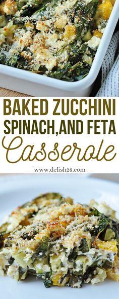Spinach Bake, Zucchini Casserole, Bake Zucchini, Chicken Zucchini, Spinach And Feta, Spinach Stuffed Chicken, Casserole Dishes, Casserole Recipes, Yummy Recipes