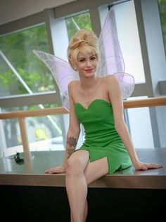 Princess Tinker Bell Cosplay Wig With a Bun Blonde Color Cos Wig