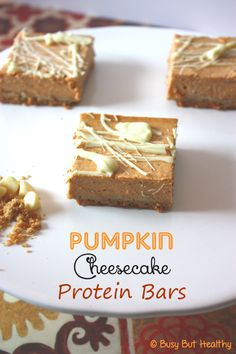 Happy #NationalPumpkinCheesecake Day! These #healthy Pumpkin Cheesecake Bars are the perfect way to celebrate! Guilt Free!
