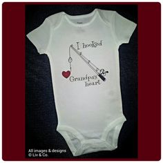 Hooked Grandpas Heart Fishing onsie one piece by LivAndCompanyShop, $16.00 Hooked Grandpas Heart Fishing onsie, one piece, body suit, shirt, Hooked On Grandpa, I Love Grandpa, Grandpa Gift, Liv & Co  www.LivAndCo.com & www.Facebook.com/LivAndCo  Absolutely adorable Hooked Grandpa's Heart baby onsie, bodysuit and toddler tshirt!  Excellent gift for the fishing enthusiast! #Fishing #Baby #Grandpa