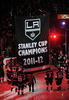 L.A. Kings Hockey Stanley Cup Champions - The raising of the banner ceremony