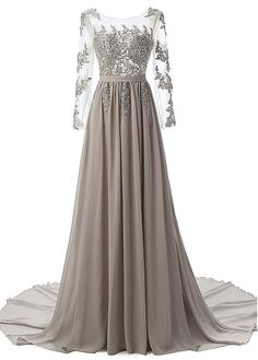 Buy discount Flowing Tulle & Chiffon Bateau Neckline A-Line Evening Dresses With Beaded Lace Appliques at Magbridal.com