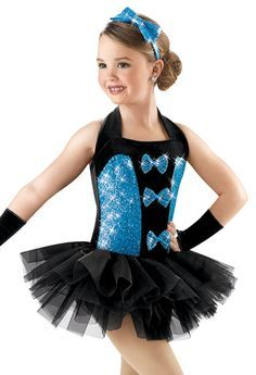 Sky blue tap costume with bkackn tutu and bow in chest. Blue sparkly headband