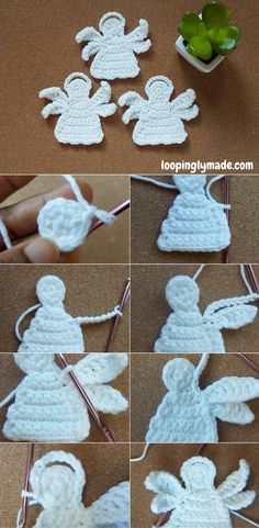 Crochet angel applique made in one piece