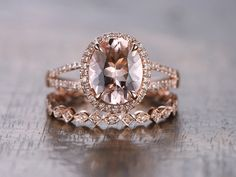 8x10mm Oval Cut Pink Morganite Ring Bridal by kilarjewelry on Etsy