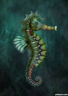 This is a great idea for a seahorse tattoo. I love the silhouette, and sharp edges.