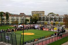 A Cruyff Court is a modern interpretation of the old hard playgrounds that used to be found in many neighborhoods and districts, but over the years has often been sacrificed for urbanization and expansion.  A Cruyff Court is a meeting place, a place where themes such as mutual respect, health, integration, development and play together are central to.