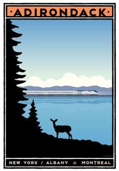 Michael Schwab travel poster of the Adirondack, New York State