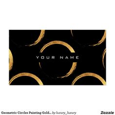 Geometric Circles Painting Golden Black Vip Pack Of Standard Business Cards
