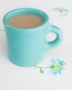 My favorite mug is the same color. What is it about this beautiful blue first thing in the morning?