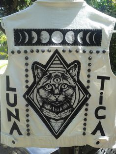 Denim Punk Vest Punk Jacket Studs Spikes Battle Jacket Battle Vest Back Patch Patches Goth Gothic Goth fashion Cat Moon Phases Patch Occult
