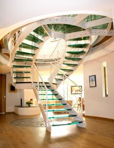 Colimaçon en verre Interior Staircase, Stairs Architecture, Stainless Steel Staircase, Stair Well, Escalier Design, Railing Design, Stair Design, Glass Stairs, Steel Stairs