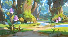 ArtStation - Secret forest, yeonji Rhee Fantasy Art Landscapes, Landscape Art, Environment Concept Art, Environment Design, New Fantasy, Visual Development, Fantasy Illustration, Environmental Art, Art Background