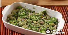 Ensalada de habas verdes hecha por Sonia Ortiz. Receta de ensalada hecha con habas frescas y un toque de vinagre.