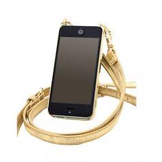 Bandolier iPhone case - gold crossbody style