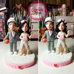 Polymer clay bride and groom wedding cake topper in height Baby Baptism, Christening, Birthday Souvenir, Polymer Clay Cake, Wedding Giveaways, Get Directions, Cool Baby Stuff, Wedding Cake Toppers, Design Crafts