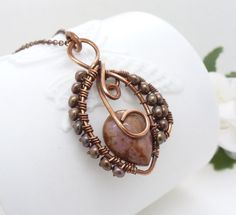 Ocean jasper necklace pink and brown copper by CreativityJewellery, $75.00