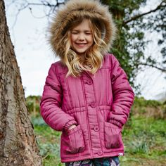 Cherokee Girls PInk Fur trim Hood Coat
