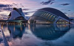 Telegraph reader Simon Goyne writes: Here is a photo I took at the City of Arts & Sciences, Valencia, Spain. It was taken just after sunset, and shows the Umbracle (an IMAX cinema and exhibition space) in the right hand foreground, and the Reina Sofia Palau de las Artes (opera house) behind and to the left.