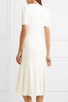 Dolce & Gabbana - Bow-embellished Cady Midi Dress - White - IT44