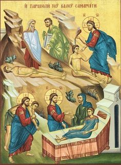 "Greek orthodox icon of the parable of the ""Good Samaritan"" – orthodoxmonasteryicons.com"