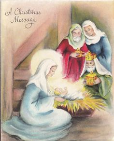 Vintage Greeting Card Christmas Religious Nativity Mary Joseph Baby Jesus Magi