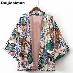Summer Oversize Foral Print Cardigan Open Stitch Kimono Stylish Casual Vintage Outerwear Women Half Sleeve Loose Streetwear Coat