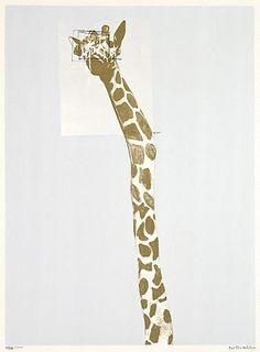 Brett Whiteley, Giraffe: no. four-colour screenprint, printed on paper, x cm image; x cm sheet, Edition Giraffe Images, Hotel Concept, Australian Artists, Screen Printing, Beast, Prints, Paintings, Cows, Animals