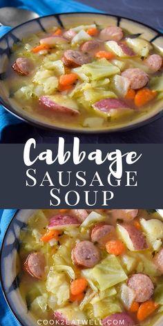 Cabbage Recipes, Crockpot Recipes, Soup Recipes, Dinner Recipes, Cooking Recipes, Recipies, Lentil Sausage Soup, Kielbasa Sausage, Cabbage And Sausage