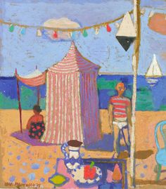 Leon Morrocco - Striped Tent on the Beach, oil, 30 x 30 cm