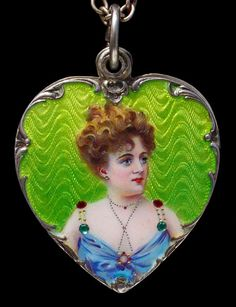 MEYLE & MAYER (Pforzheim) Art Nouveau locket, silver and enamel, German, circa 1900. Tadema Gallery (http://pinterest.com/pin/282671314081849085/).