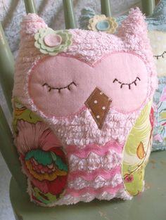 PRISCILLA - Pink Vintage Inspired Chenille Owl Plush