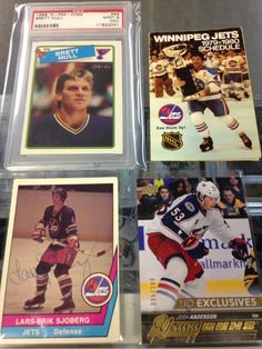 Some unique items for sale at Lower Level Sports Cards and Collectibles, located at 189 Henderson Highway in Winnipeg, Manitoba.  Brett Hull 1988-89 OPC PSA 9 (OC) Rookie Card Winnipeg Jets 1979-80 Pocket Schedule  Lars-Erik Sjoberg autographed card (rare) Josh Anderson 2015-16 Young Guns Exclusive