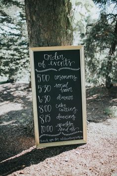 Wedding sign; order of events